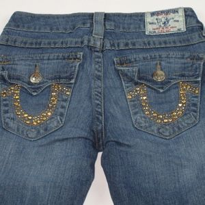 TRUE RELIGION High Rise Boot Distressed Jeans